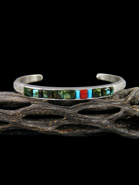 Native American Turquoise and Coral Cobblestone Inlay Bracelet