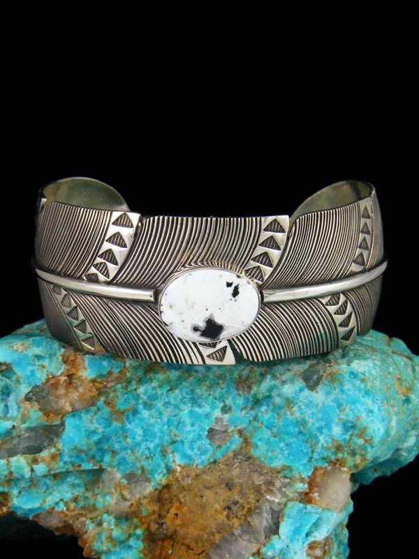 Navajo Sterling Silver White Buffalo Feather Cuff Bracelet