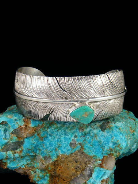 Navajo Sterling Silver Turquoise Feather Cuff Bracelet
