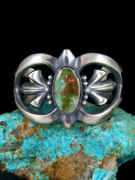 Navajo Natural Royston Turquoise Sterling Silver Cuff Bracelet