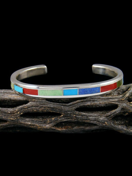 Zuni Inlay Sterling Silver Coral and Turquoise Cuff Bracelet