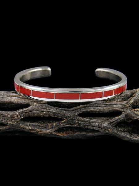 Zuni Inlay Sterling Silver Coral Cuff Bracelet
