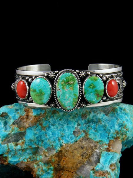 Native American Sterling Silver Sonoran Gold Turquoise and Coral Cuff Bracelet