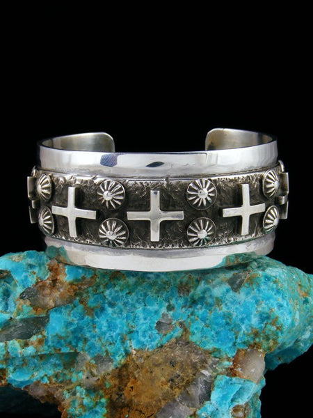 Native American Indian Jewelry Sterling Silver Cross Bracelet