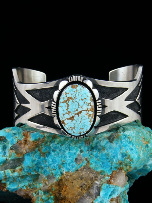 Native American Natural Number 8 Turquoise Cuff Bracelet