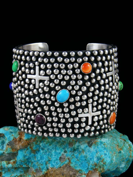 Native American Indian Jewelry Sterling Silver Spiny Oyster Cross Cuff Bracelet