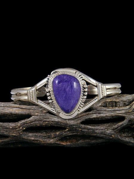 Native American Jewelry Charoite Sterling Silver Cuff Bracelet