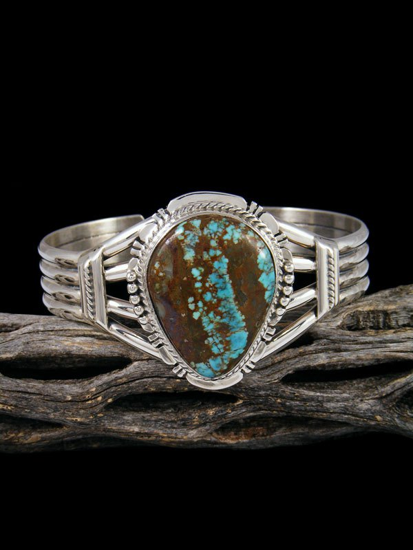 Native American Jewelry #8 Turquoise Sterling Silver Cuff Bracelet