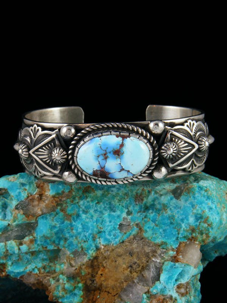 Native American Natural Golden Hill Turquoise Cuff Bracelet