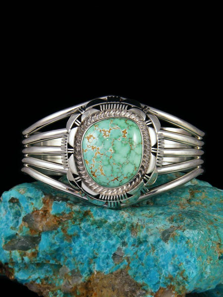 Native American Carico Lake Turquoise Sterling Silver Cuff Bracelet