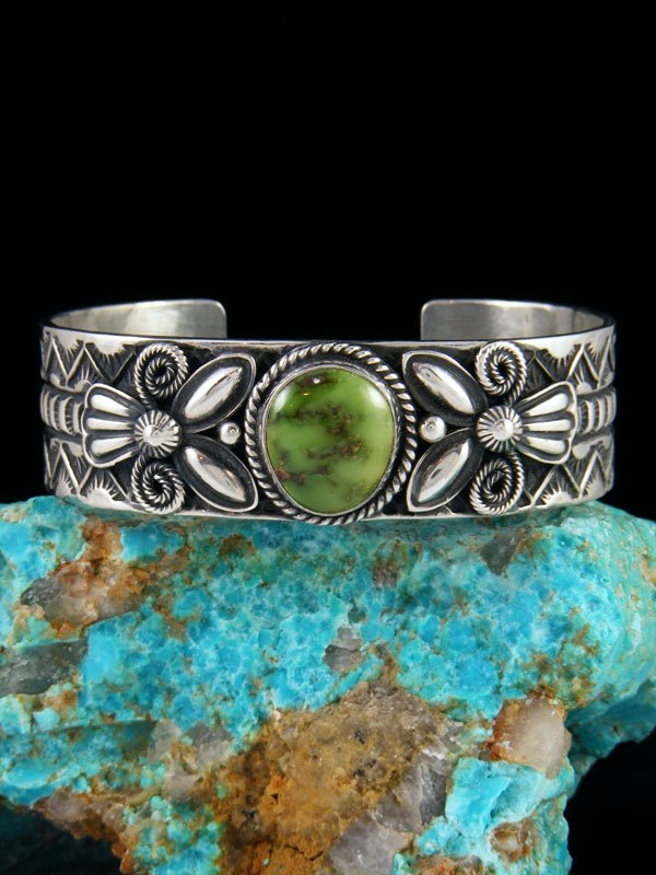 Navajo Sterling Silver Sonoran Gold Turquoise Cuff Bracelet