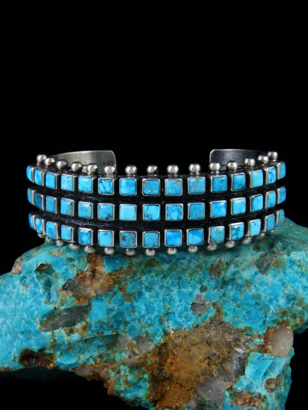 Native American Sterling Silver Turquoise Row Bracelet