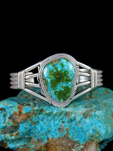 Native American Sonoran Turquoise Sterling Silver Cuff Bracelet