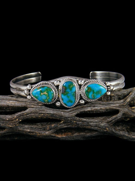 Navajo Sonoran Turquoise Sterling Silver Cuff Bracelet