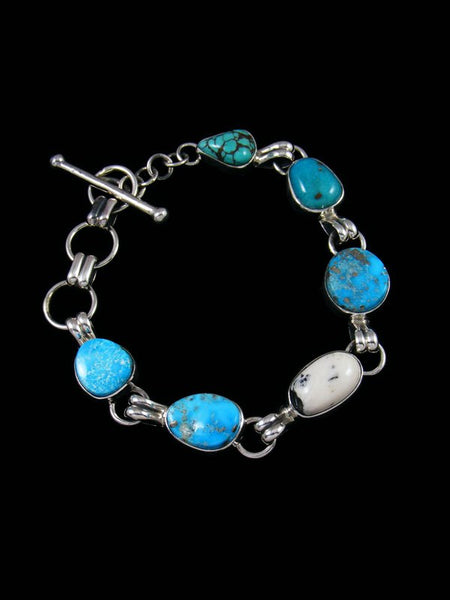 Native American White Buffalo and Turquoise Link Bracelet