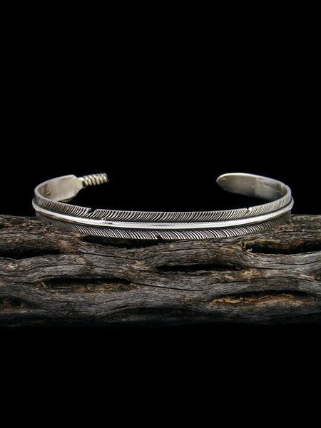 Medium Navajo Hand Cut Sterling Silver Feather Bracelet