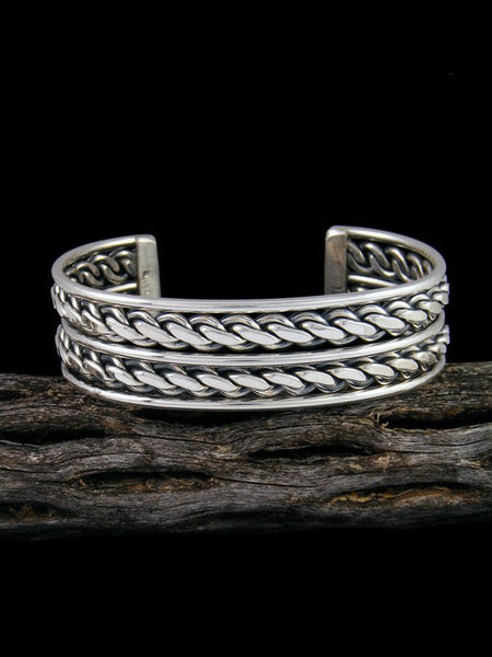 Navajo Sterling Silver Twisted Rope Cuff Bracelet