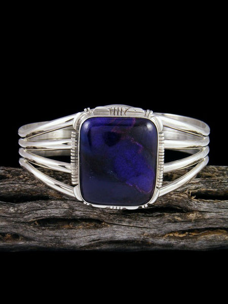 Native American Purple Sugilite Sterling Silver Cuff Bracelet