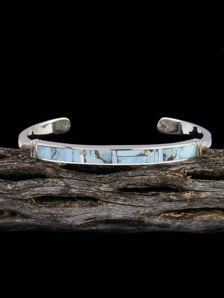 Native American Indian Golden Hill Turquoise Inlay Bracelet