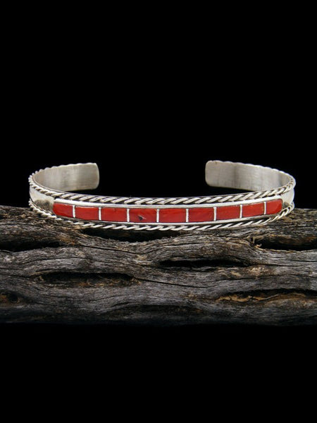 Sterling Silver Coral Zuni Inlay Bracelet