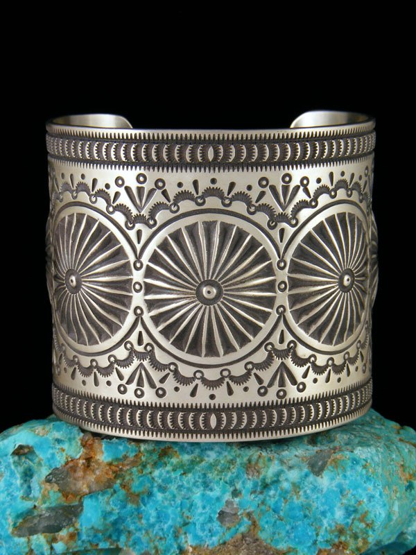 Large Native American Sterling Silver Cuff Bracelet