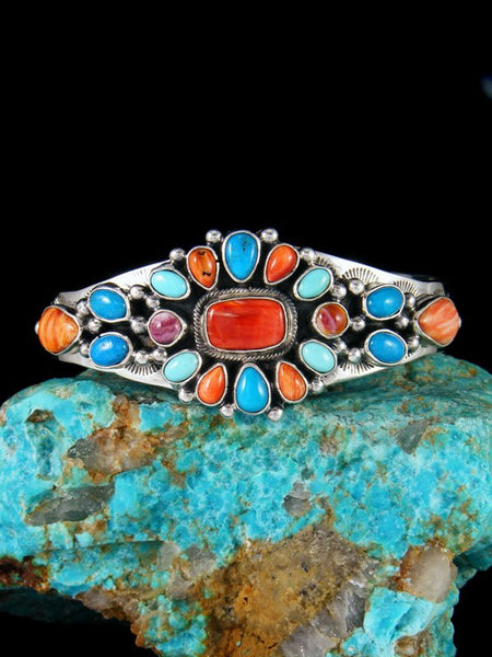 Native American Sterling Silver Turquoise and Spiny Oyster Cuff Bracelet