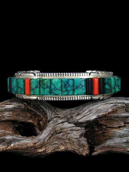 Native American Sterling Silver Hubei Turquoise Cornrow Inlay Bracelet