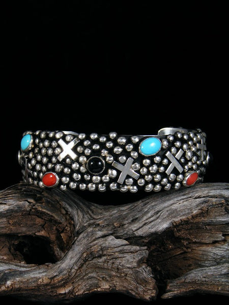 Native American Sterling Silver Turquoise Cross Bracelet