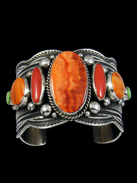 Native American Sterling Silver Coral and Spiny Oyster Bracelet