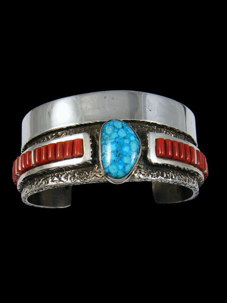 Native American Indian Jewelry Sterling Silver Coral Cuff Bracelet
