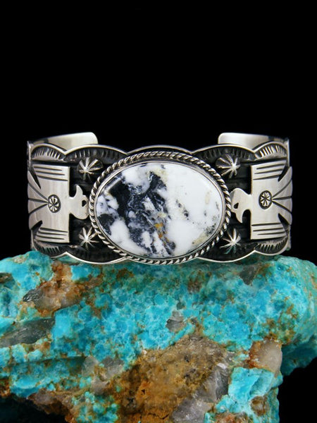 Native American Jewelry Sterling Silver White Buffalo Thunderbird Cuff Bracelet