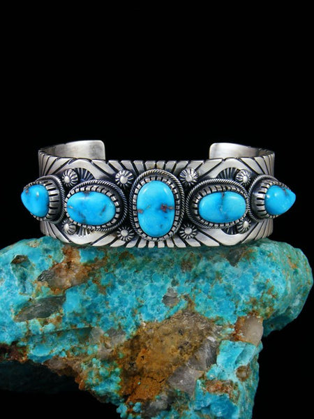 Native American Indian Jewelry Sterling Silver Sonoran Rose Turquoise Bracelet