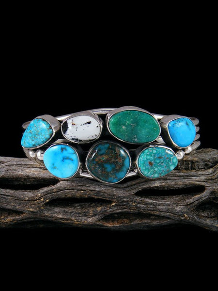 Navajo White Buffalo and Turquoise Sterling Silver Cuff Bracelet