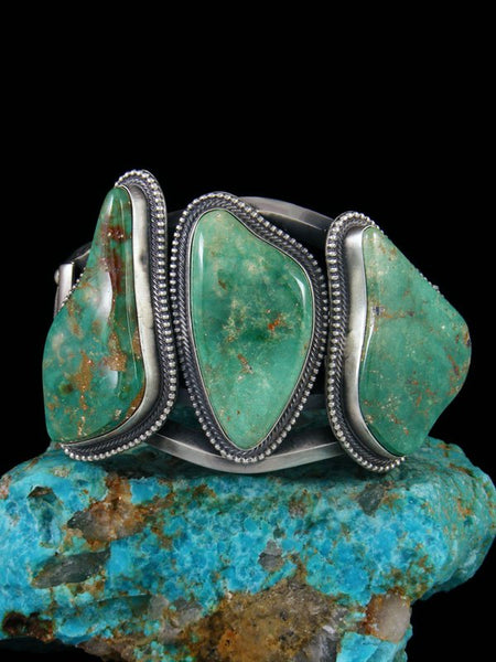 Native American Sterling Silver Battle Mountain Turquoise Cuff Bracelet
