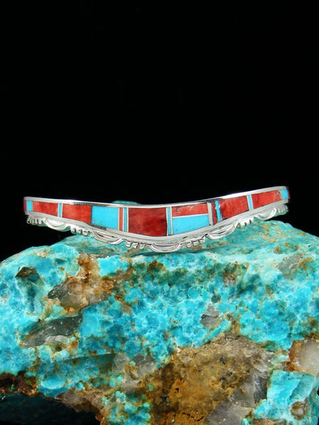 Native American Indian Spiny Oyster Turquoise Inlay Bracelet