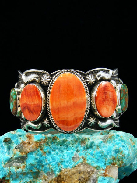 Native American Spiny Oyster and Royston Turquoise Bracelet