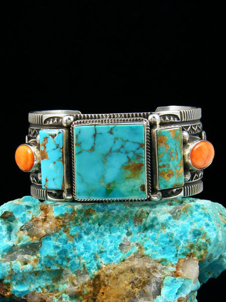 Navajo Jewelry Sterling Silver Turquoise and Spiny Oyster Bracelet
