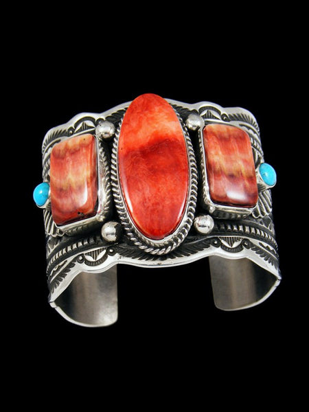 Native American Sterling Silver Spiny Oyster and Turquoise Bracelet