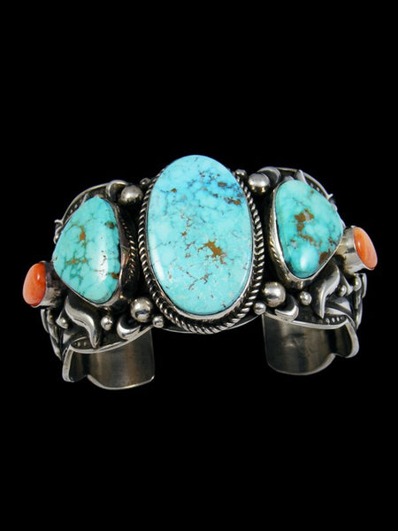 Native American Kingman Turquoise and Spiny Oyster Bracelet