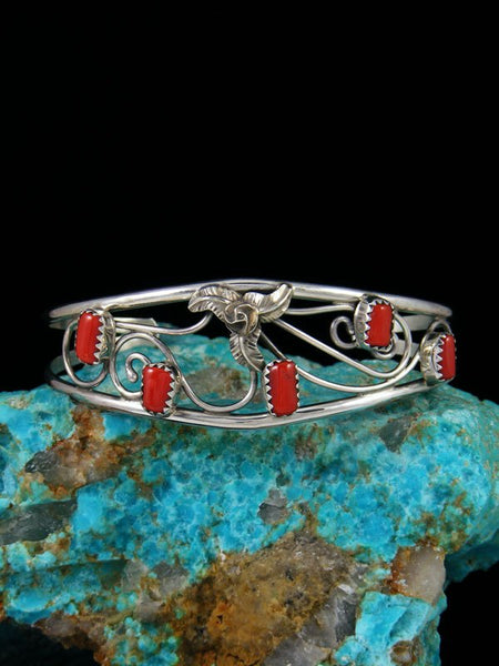 Navajo Sterling Silver Twisted Wire Coral Cuff Bracelet