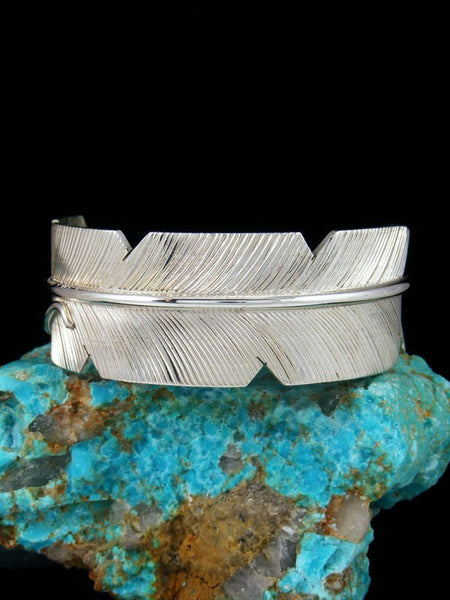 Navajo Sterling Silver Feather Cuff Bracelet