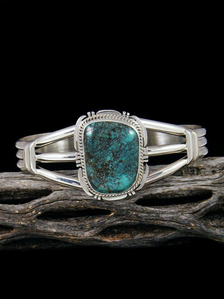 Native American Apache Blue Turquoise Sterling Silver Cuff Bracelet