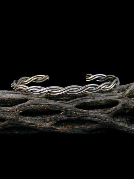 Large Native American Braided Rope Sterling Silver Cuff Bracelet