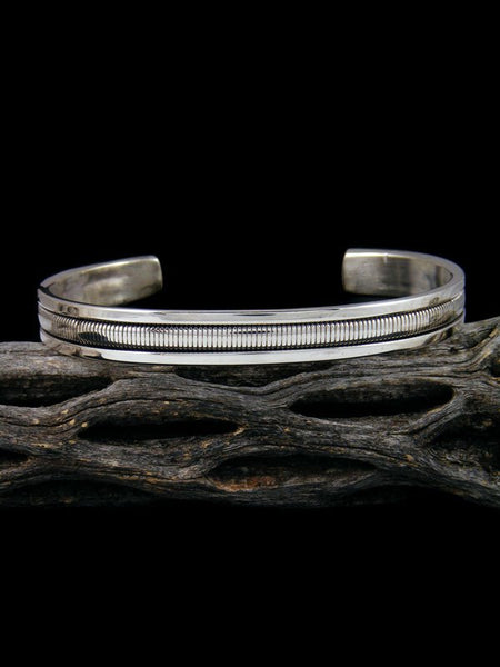 Navajo Sterling Silver Rope Cuff Bracelet