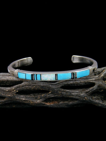 Native American Indian Opalite and Turquoise Inlay Bracelet