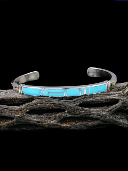 Native American Indian Turquoise Inlay Bracelet