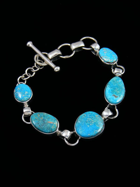 Native American Sterling Silver Kingman Turquoise Link Bracelet