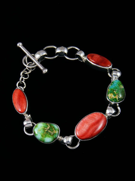 Native American Sterling Silver Spiny Oyster and Sonoran Turquoise Link Bracelet