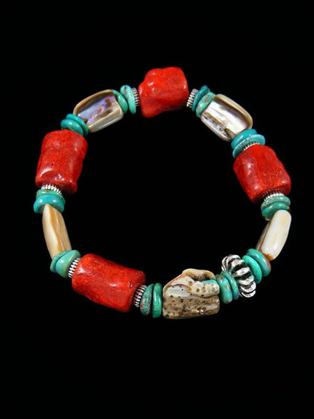 Native American Jewelry Coral and Turquoise Stretch Bracelet