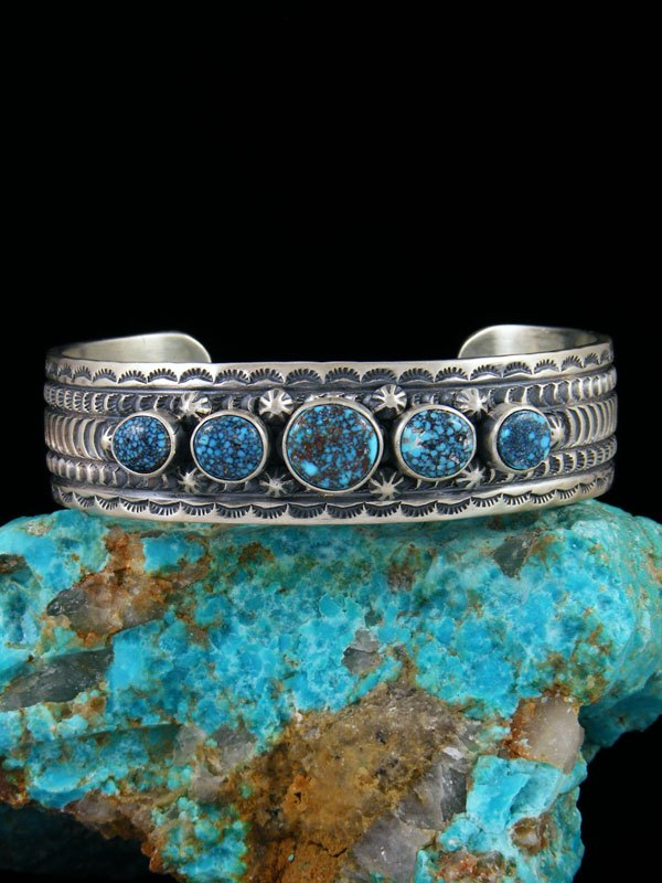 Native American Indian Stamped Kingman Black Web Turquoise Cuff Bracelet